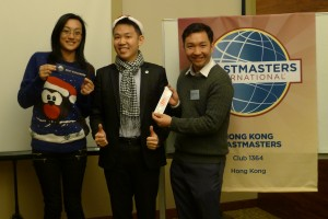 Best Evaluator (Sandy Chan) and Best Table Topic Speaker (Ben Fung)